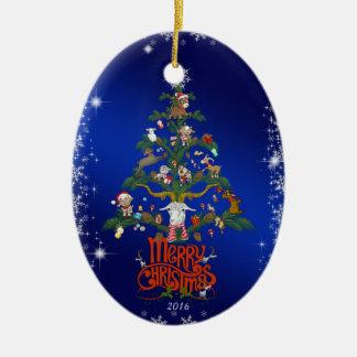 GOAT LOVERS Xmas Gift  | Merry Christmas Goat tree Ceramic Ornament