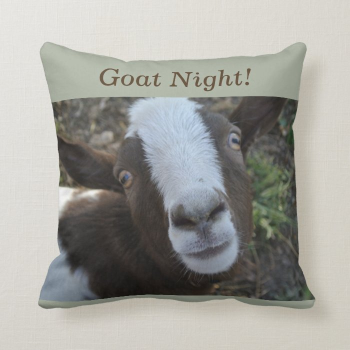 Farm Animal Throw Pillows : Goat Night Barnyard Farm Animal Throw Pillow Zazzle