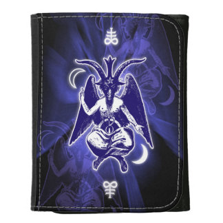 Goat of Mendes Baphomet & Satanic Crosses Leather Trifold Wallet