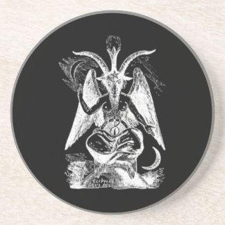 Goat Of Mendes- Black And White Coaster