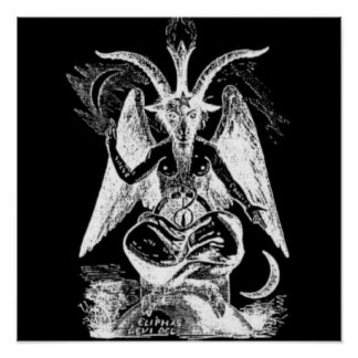 Goat Of Mendes Black And White Poster