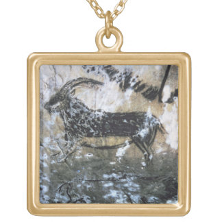 Goat or Chamois, rock painting in the Black Room, Square Pendant Necklace