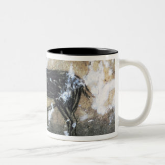 Goat or Chamois, rock painting in the Black Room, Two-Tone Coffee Mug