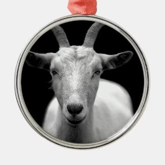 Goat Round Metal Christmas Ornament