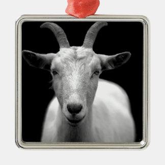 Goat Square Metal Christmas Ornament