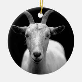 Goat Double-Sided Ceramic Round Christmas Ornament