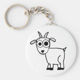 Goat Outline Basic Round Button Keychain