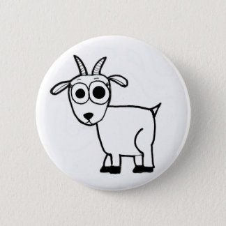 Goat Outline Pinback Button