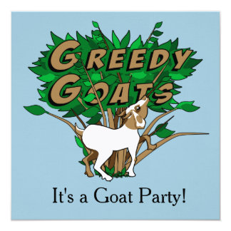 """Goat Party Invite Traditional: Linen 5.25"""" x 5.25"""""""