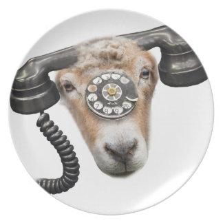 Goat Phone Call Head Melamine Plate