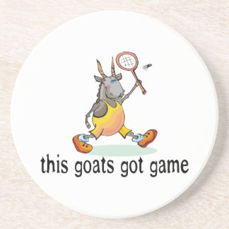 Goat Playing Badminton Drink Coasters