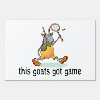 Goat Playing Badminton Lawn Sign