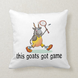 Goat Playing Badminton Throw Pillow