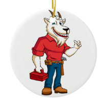 Goat plumber handyman illustration ceramic ornament
