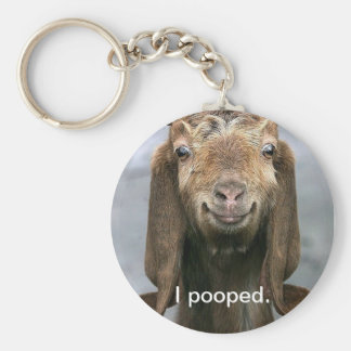 Goat pooping keychain