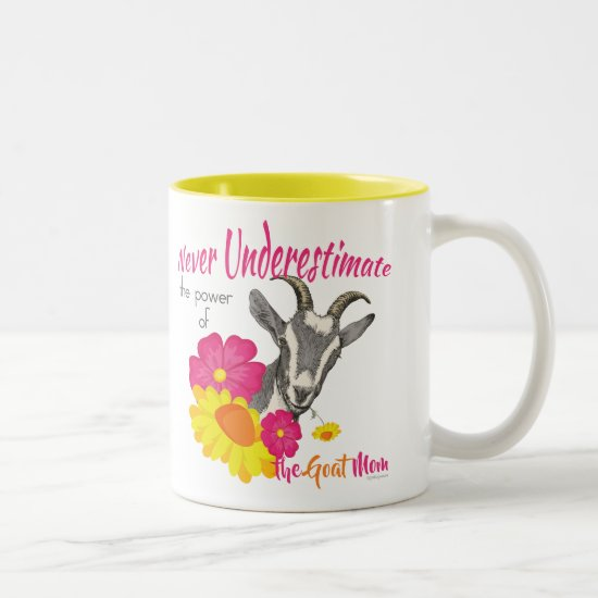 GOAT | Power of the GOAT MOM by GetYerGoat Two-Tone Coffee Mug