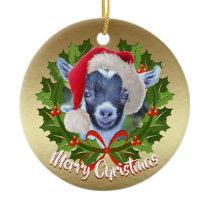 GOAT Pygmy Kid  Santa Hat Christmas Ornament