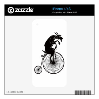 Goat Riding a Penny Farthing Bike Decals For The iPhone 4S