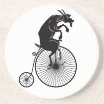 Goat Riding a Vintage Penny Farthing Bike Coaster