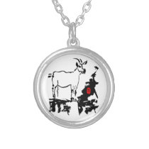 Goat rocks Vietnamese Chinese Year Zodiac Round N Silver Plated Necklace