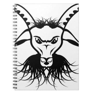 Goat Satan Devil Evil Vector Spiral Notebook