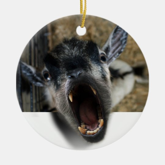 Goat Screaming to Get Out Ceramic Ornament