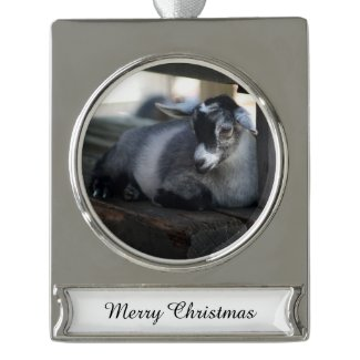Goat Silver Plated Banner Ornament