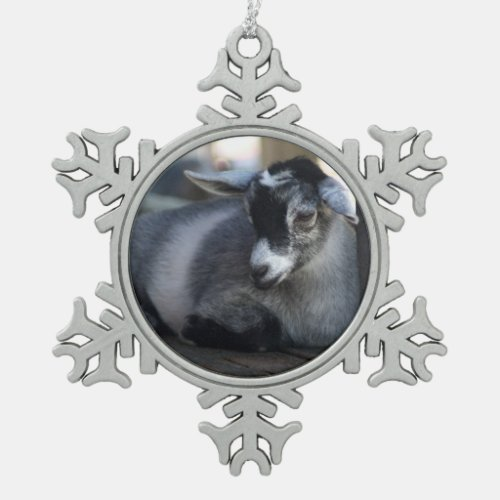 Goat Snowflake Pewter Christmas Ornament