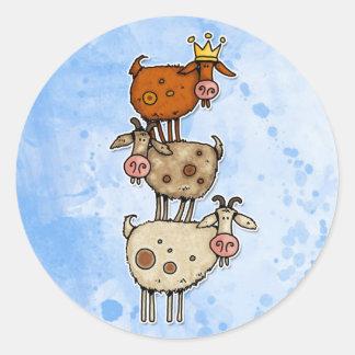 goat stack classic round sticker
