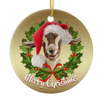 GOAT Toggenburg Kid Santa Hat Christmas Ornament