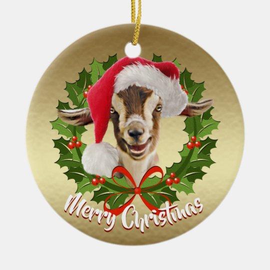 Goat Christmas Ornament.Goat Toggenburg Kid Santa Hat Christmas Ornament