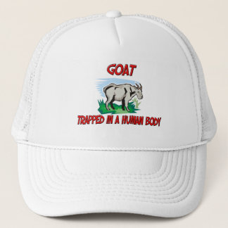 Goat trapped in a human body trucker hat