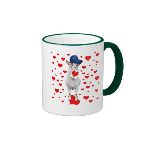 Goat Valentine Hearts Ringer Mug