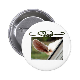 Goat white Christmas package shape eye gate Pinback Buttons