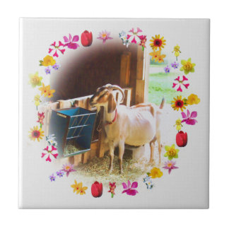 Goat With Flowers Ceramic Tile