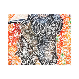 goat with garland abstract sketch canvas print