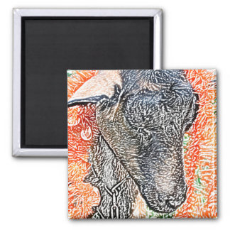 goat with garland abstract sketch magnets