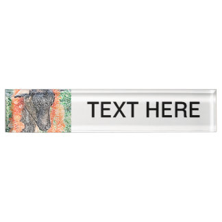 goat with garland abstract sketch nameplate