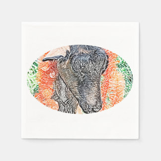 goat with garland abstract sketch paper napkins