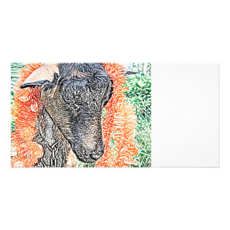 goat with garland abstract sketch photo card