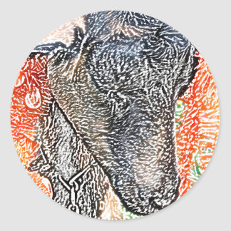goat with garland abstract sketch round stickers