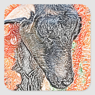 goat with garland abstract sketch square sticker