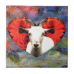 Goat With Heart Ceramic Tile