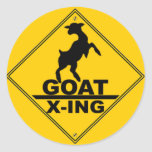 Goat X -ing / GOAT CROSSING WARNING SIGN Classic Round Sticker