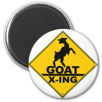 Goat X -ing / GOAT CROSSING WARNING SIGN Magnet