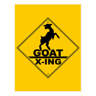 Goat X -ing / GOAT CROSSING WARNING SIGN Postcard