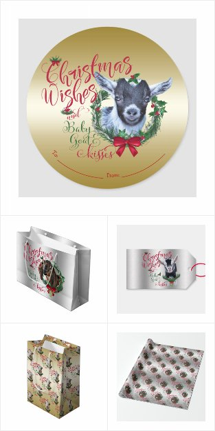 Goat Xmas Gift Wrap Supplies - Baby Goat Kisses