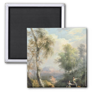 Goatherds in mountainous Spanish landscape 2 Inch Square Magnet