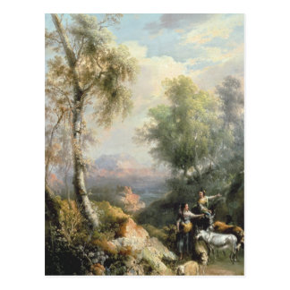 Goatherds in mountainous Spanish landscape Postcard