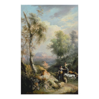 Goatherds in mountainous Spanish landscape Poster